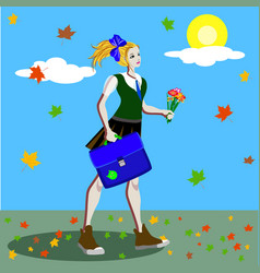 School girl in uniform with ponytails going to vector