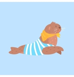 Seal in sailor shirt and scarf arctic animal vector