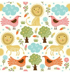 seamless pattern with lion and birds vector image vector image