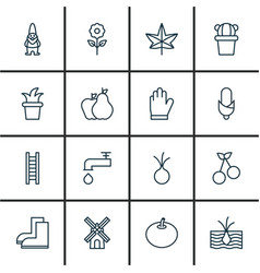 Set of 16 plant icons includes radish desert vector