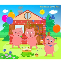 The three little pigs folktale happy ending vector image vector image