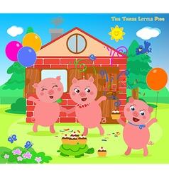 The three little pigs folktale happy ending vector