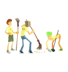 Three Person Collecting Garbage vector image