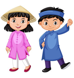 vietnam boy and girl in tradition outfit vector image vector image