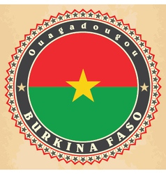 Vintage label cards of Burkina Faso flag vector image vector image