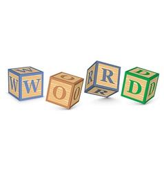 Word word written with alphabet blocks vector