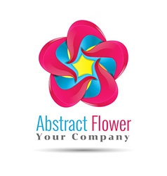 Yellow blue pink leafs logo design Four leafs vector image vector image