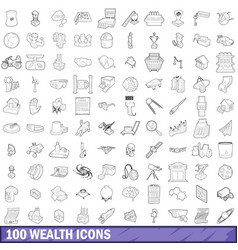 100 wealth icons set outline style vector image vector image