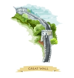 Chinese great wall watercolor icon vector