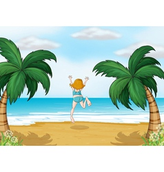 A girl enjoying the summer at the beach vector