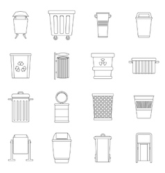 Garbage container icons set outline style vector