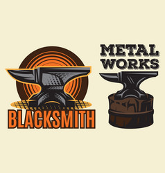 Set of vintage colored blacksmith label with anvil vector