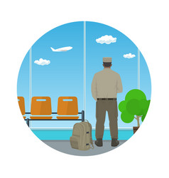 Icon airport waiting room with man in uniform vector