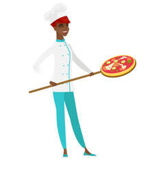 African-american chef cook preparing pizza vector