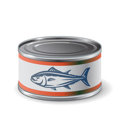Packing can of salmon vector