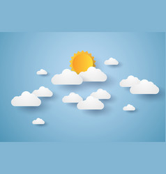 Cloudscape blue sky with clouds and sun paper vector