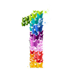 number 1 from butterfly vector image