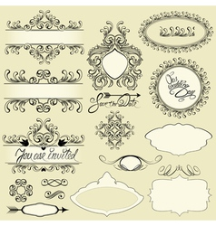 Vintage ornaments and frames vignettes calligraphi vector