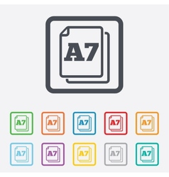 Paper size a7 standard icon document symbol vector