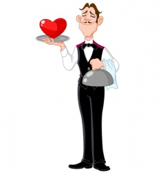 butler with heart vector image