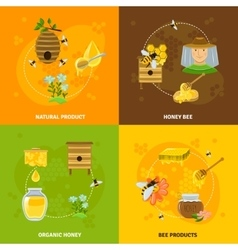 Honey and bees icons set vector