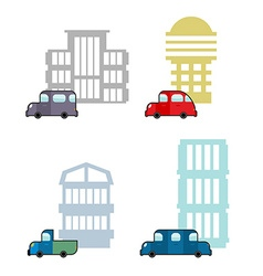 Set of car and house transport and business vector
