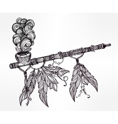 Traditional indian smoking pipe of peace vector