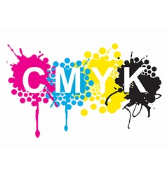 CMYK print colors splashes vector image