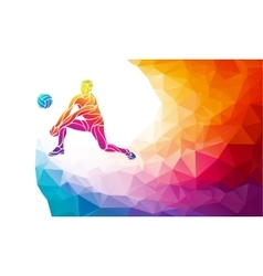 Volleyball player team sport polygonal vector