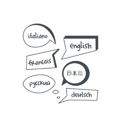 Speech bubbles with different languages texts vector
