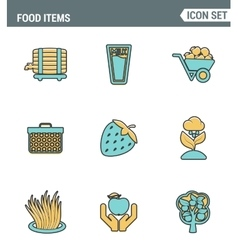 Icons line set premium quality of food items vector