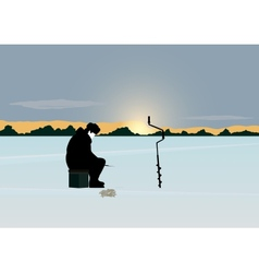Winter fishing vector