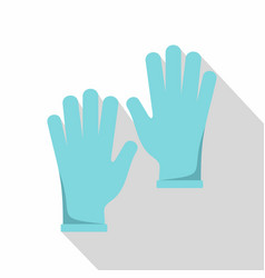 Blue medical gloves icon flat style vector