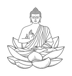 Buddha sitting on Lotus vector image vector image