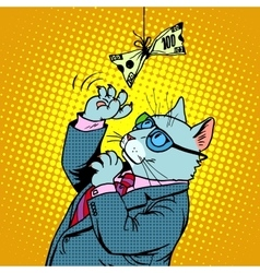 Business cat and money vector