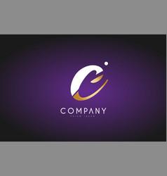 c alphabet letter gold golden logo icon design vector image