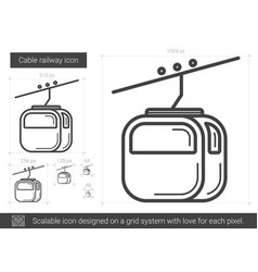 Cable railway line icon vector