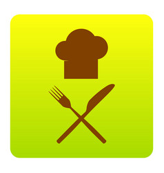 Chef with knife and fork sign brown icon vector