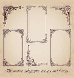 decorative calligraphic corners and frames vector image vector image