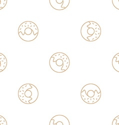 Donuts outline seamless pattern vector