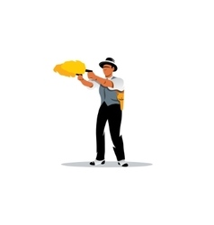 Dual wield sign man with two guns shooting vector