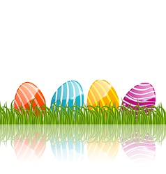 Easter traditional painted eggs in green grass vector