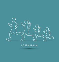 Family running silhouettes vector