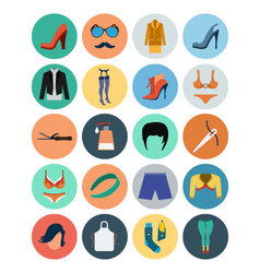 Fashion- fashion flat icons 5 vector