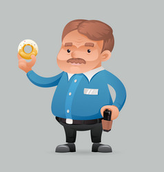 fat policeman security guard with donut icon retro vector image vector image