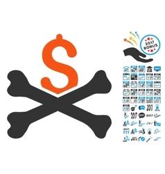Financial crash icon with 2017 year bonus symbols vector