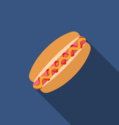 Flat design hotdog icon with long shadowFlat vector image