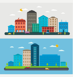 flat design urban landscape composition city scene vector image vector image