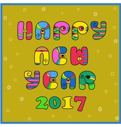 Happy New year 2017 Hippie artistic font vector image vector image