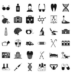 Health facility icons set simple style vector